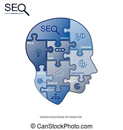 SEO puzzle head, vector
