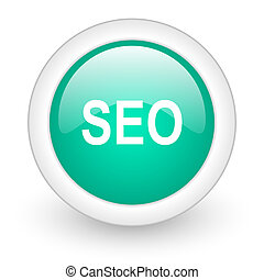 seo round glossy web icon on white background