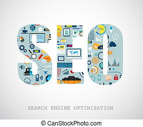 SEO Search engine optimization concept with abstract designs...