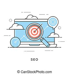 SEO, search engine optimization, content marketing, web analytics. Editable stroke.