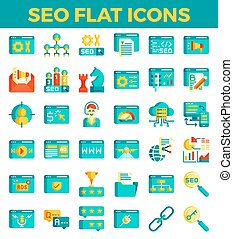 SEO Search engine optimization flat icons. Vector illustration