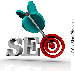 SEO - Search Engine Optimization in Target - The letters SEO...
