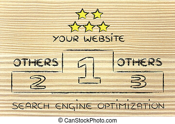 SEO, search engine optimization podium illustration
