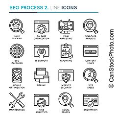 SEO Search Engine Optimization process thin line icon set. Edita