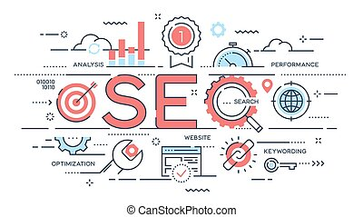 SEO Search engine otimization thin line concept. Vector...