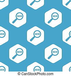 SEO search hexagon pattern - Blue text SEO under loupe in...