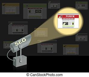seo-searchlight., zoeken, optimization, concept.