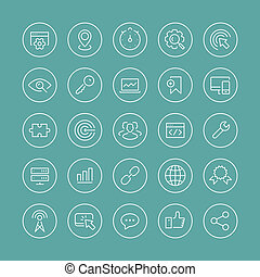 SEO services thin line icons set