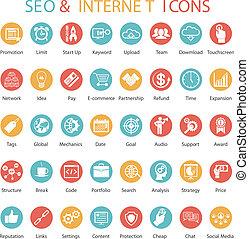 seo, set, icone, internet, grande