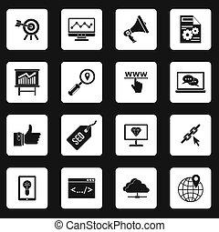 seo, set, stile, icone semplici