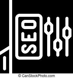 seo settings glyph icon vector black illustration
