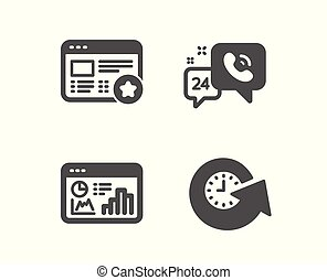 Seo statistics, Favorite and 24h service icons. Update time sign. Analytics chart, Star feedback, Call support. Vector
