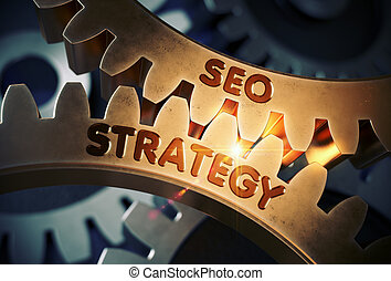 SEO Strategy on Golden Gears. 3D Illustration.