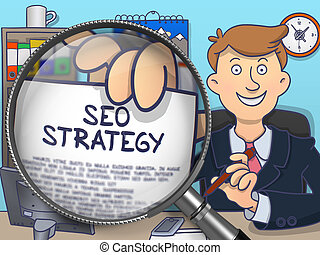 SEO Strategy through Magnifier. Doodle Concept.
