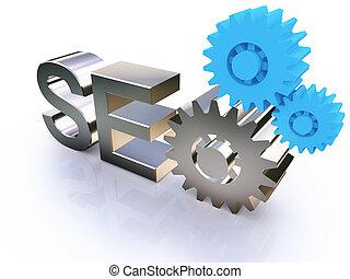 seo, -, suchmaschine, symbol, mit, zahnräder