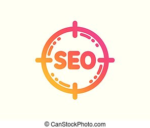 Seo target icon. Search engine optimization sign. Vector