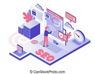 SEO technology isometric vector illustration