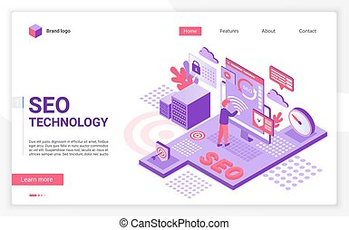 SEO technology landing page vector template