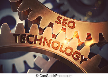 SEO Technology on Golden Gears. 3D.
