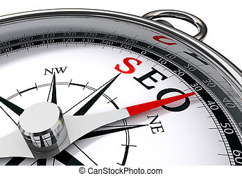 seo the way indicated by compass conceptual image