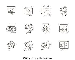 SEO thin line vector icons set