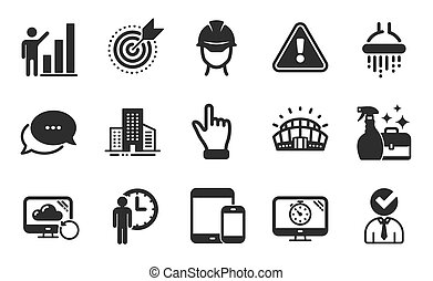 Seo timer, Foreman and Target purpose icons set. Recovery cloud, Waiting and Mobile devices signs. Vector