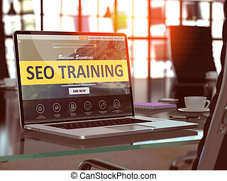 SEO Training Concept on Laptop Screen.