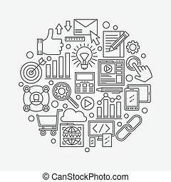 seo, vektor, illustration