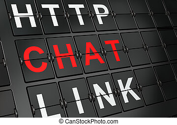SEO web design concept: Chat on airport board background