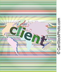 SEO web design concept: client on business digital background vector illustration