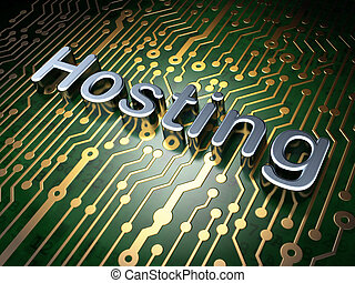 SEO web design concept: Hosting on circuit board background