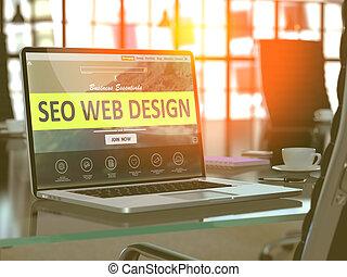 SEO Web Design Concept on Laptop Screen.