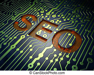 SEO web design concept: SEO on circuit board background