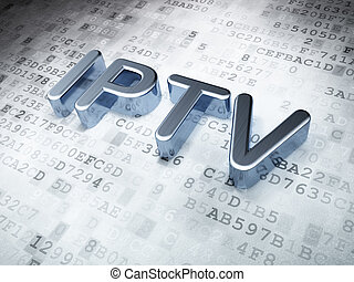 SEO web design concept: Silver IPTV on digital background