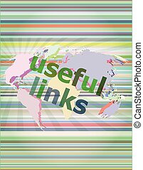 SEO web design concept: useful links on digital background vector illustration