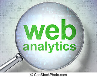 SEO web design concept: Web Analytics with optical glass -...