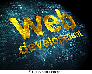 SEO web design concept: Web Development on digital background