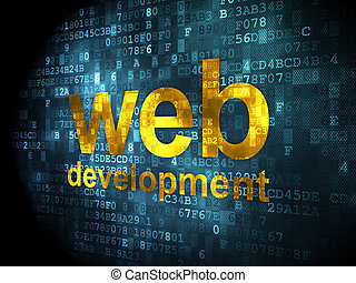 SEO web design concept: Web Development on digital background