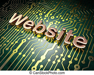SEO web design concept: Website on circuit board background