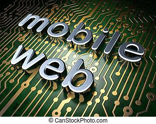 SEO web development concept: Mobile Web on circuit board background