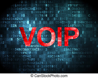 SEO web development concept: VOIP on digital background -...