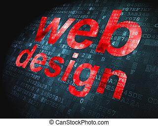 SEO web development concept: Web Design on digital background