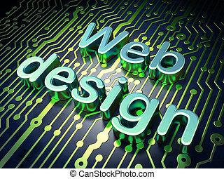 SEO web development concept: Web Design on circuit board background