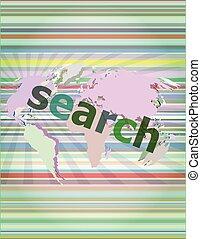 SEO web development concept: words Search on digital background vector illustration