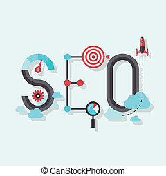 seo, woord, plat, illustratie