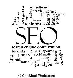 SEO Word Cloud Concept in black and white