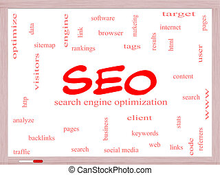 SEO Word Cloud Concept on a Whiteboard