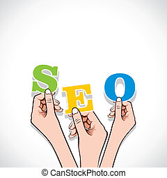 SEO word  in hand
