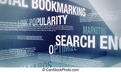 Looping animation with words and concepts related to search engine optimization and internet marketing sliding and crossing one another in an abstract but elegant looking environment.