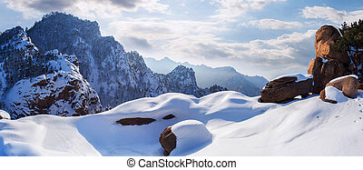 Seoraksan mountains in winter, Famous mountain in South Korea